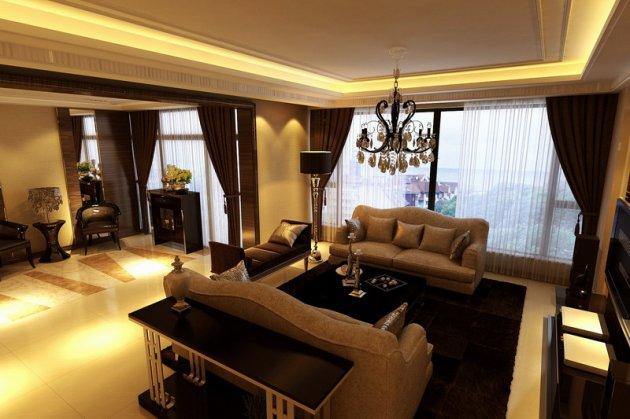 晶蓝半岛装修效果图,现代风格装修,成都家装设计